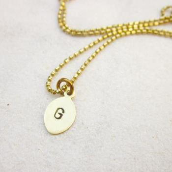 Brass initial necklace oval tag personalized monogram necklace hand stamped custom necklace MADE TO ORDER