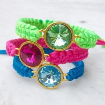 Macrame bracelet with Swarovski Rivoli crystal friendship bracelet - MADE TO ORDER